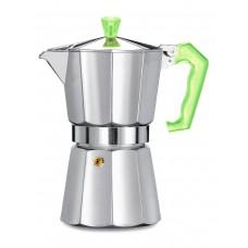 Гейзерная кофеварка Pezzetti ITalexpress с зеленой ручкой на 6 порций