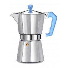 Кофеварка гейзерная Pezzetti ITalexpress с голубой ручкой на 6 порций